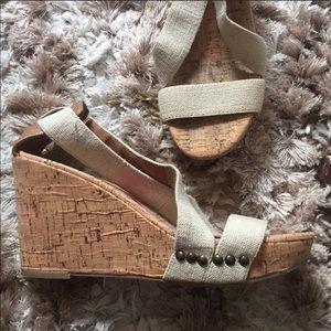 Lucky Brand boho studded wedge sandals